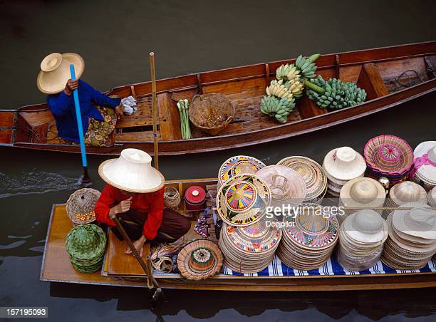 floating market in bangkok thailand - floating market stock photos and pictures