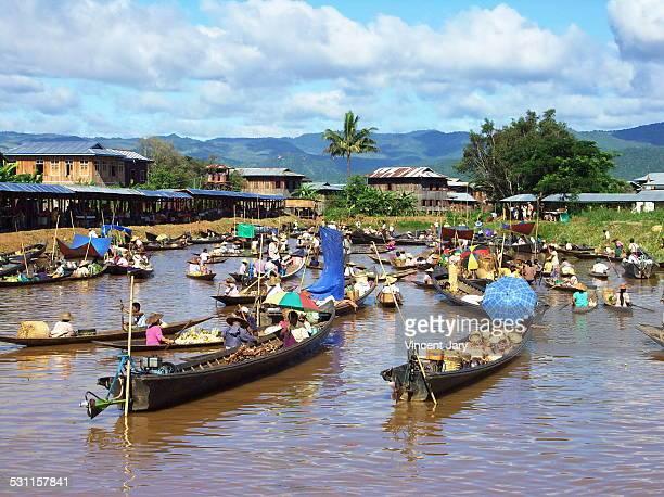 Floating market inle lake Myanmar