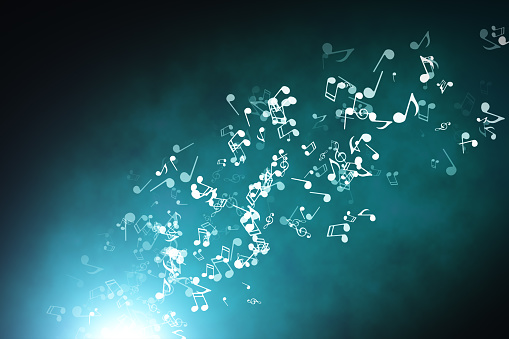 Floating musical notes on an abstract blue background with flares 3d illustration 951714778