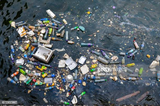 Floating plastic and styrofoam trash polluting a corner of Victoria Harbour Hong Kong