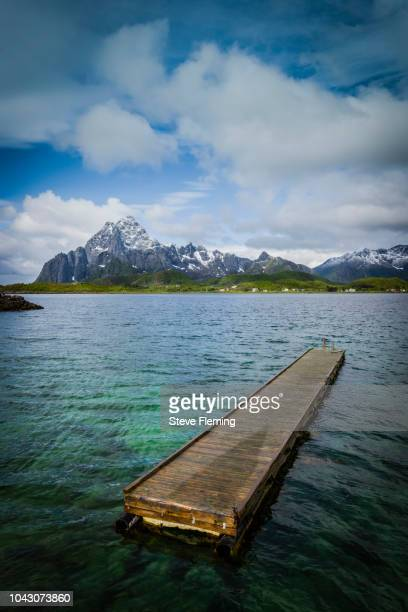 Floating platform in a fjord close to Svolvaer, Lofoten Islands, Norway.