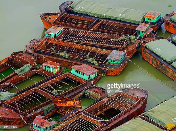 floating skeletons   - barge stock photos and pictures
