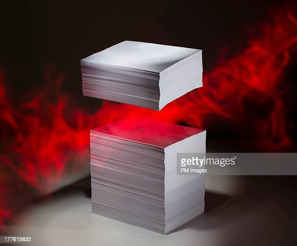 Floating stack of paper