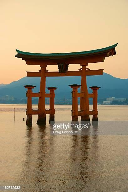 Floating torii at Itsukushima Shrine at sunset