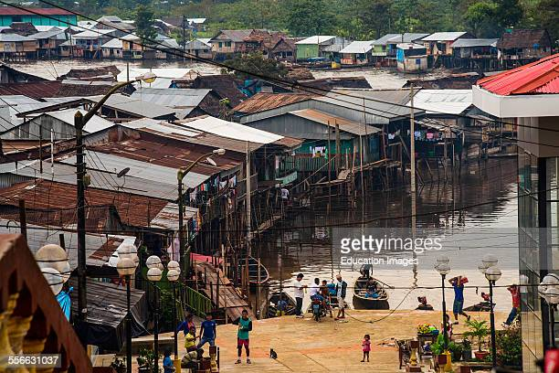 Floating town is a part of Iquitos, Peru.