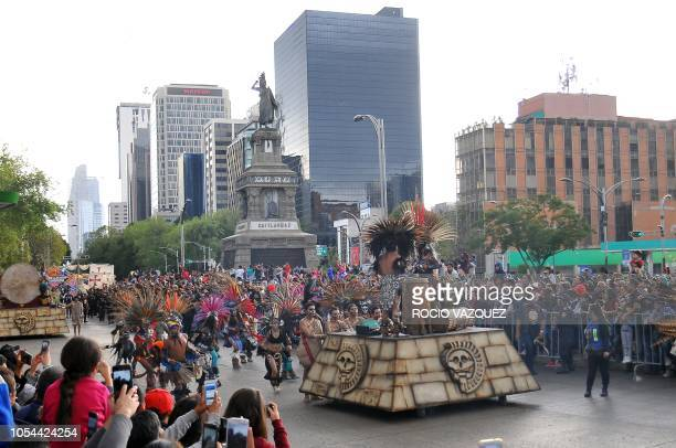 Floats and disguised people parade during the Day of the Dead celebration in the third Big Parade in Mexico City on October 27 2018 The parade is...