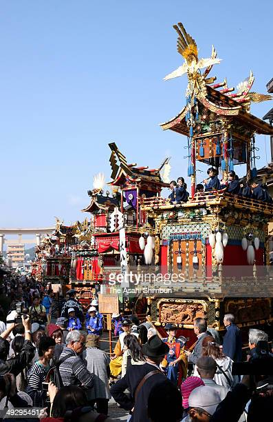 Floats are displayed on the street during the Autumn Takayama Festival on October 9, 2015 in Takayama, Gifu, Japan.