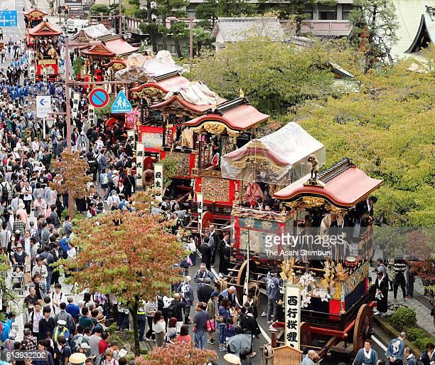 Floats called 'Hikiyama' are displayed during the Otsu Festival on October 09 2016 in Otsu Shiga Japan