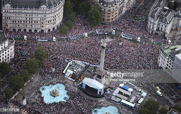 Floats carrying Team GB and Paralympic GB athletes on the London 2012 Victory Parade travel past Trafalgar Square on September 10, 2012 in London,...
