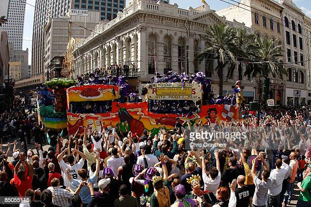 Floats from the Zulu parade roll down St Charles Avenue throwing beads and coconuts on Mardi Gras day on February 24 2009 in New Orleans Louisiana...