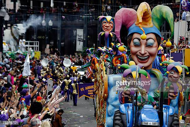 Floats in the Rex parade roll along St Charles avenue on Mardi Gras Day February 20 2007 in New Orleans Louisiana This is the second Mardi Gras...