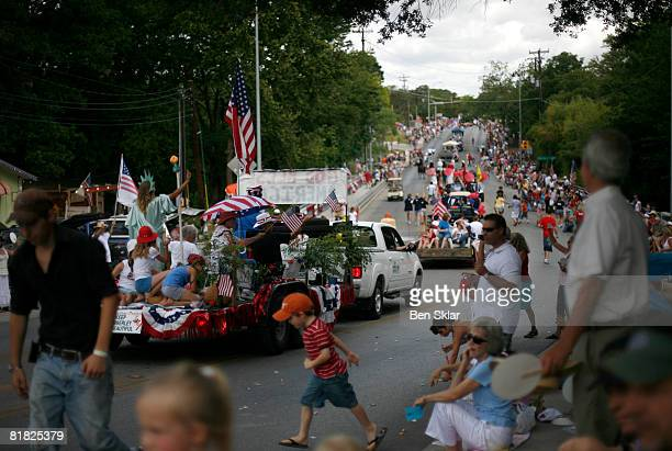 Floats make their way through the town during the Independence Day parade July 4 2008 in Wimberley Texas The United States declared independence from...