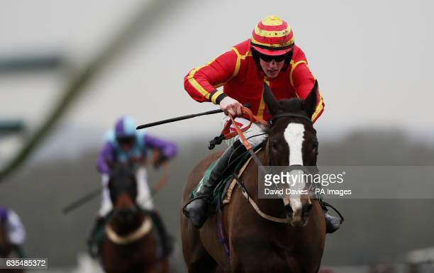 Flobury ridden by Ciaran Gethings in the Towcester Saturday Morning Greyhounds on attheraces Handicap Hurdle at Towcester Racecourse PRESS...