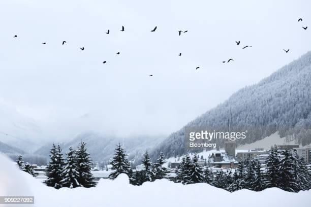 A flock of birds fly as snow covers the landscape on the opening day of the World Economic Forum in Davos Switzerland on Tuesday Jan 23 2018 World...