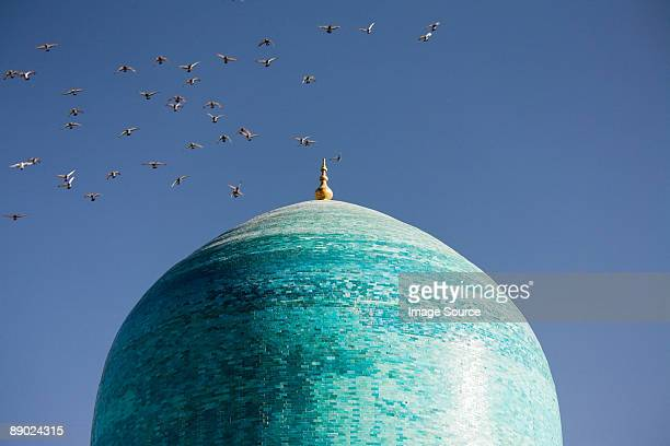 flock of birds flying over cupola of mosque - uzbekistan foto e immagini stock