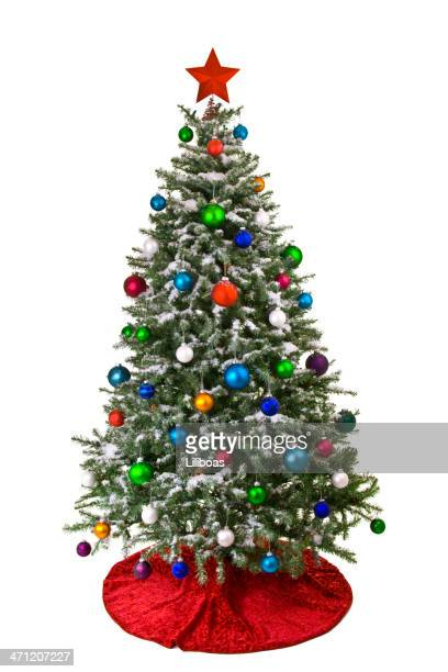 flocked christmas tree - fake snow stock pictures, royalty-free photos & images