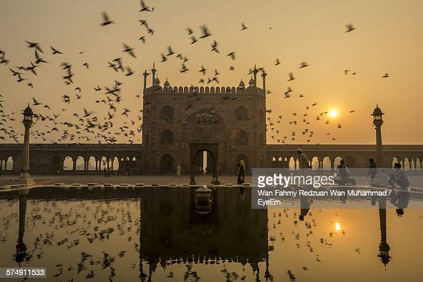 Flocks Of Birds Flying By Jama Masjid Against Sky During Sunset