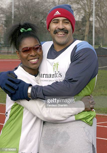 Floella Benjamin and Daley Thompson at Barnardo's London Marathon Training Session at Battersea Park in London Great Britain on January 22 2005