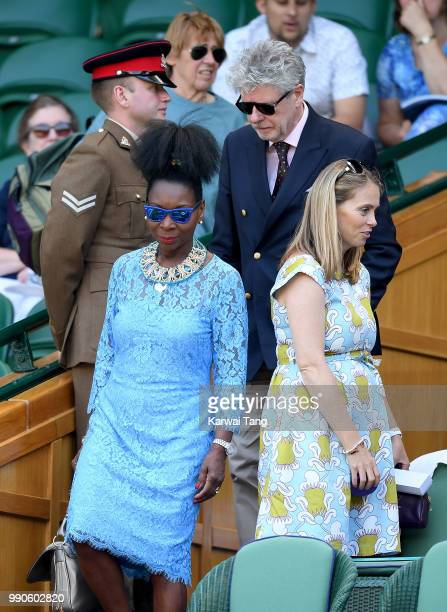 Floella Benjamin and husband Keith Taylor arrive in the royal box on day two of the Wimbledon Tennis Championships at the All England Lawn Tennis and...
