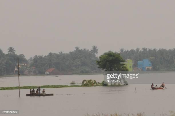 Flood at Hooghly District Kolkata city to 70 Kilometer distances on July 282017 in KolkataIndia