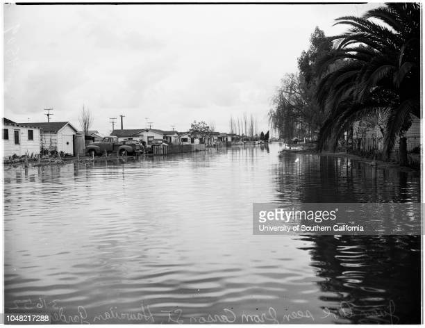 Flood at Los Alamitos Long Beach 16 March 1952 Flood at Los Alamitos Long BeachFlood at Hawaiian GardensCaption slip reads 'Photographer Emery Date...