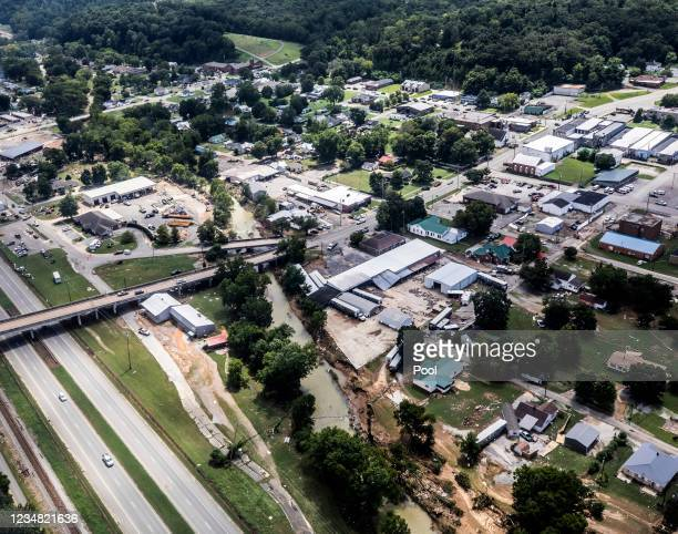 Flood damaged areas are shown from a UH-60 Black Hawk helicopter flown by the Tennessee National Guard August 22, 2021 in Waverly, Tennessee. At...