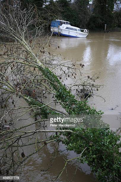 A flood damaged boat lies on the banks of the River Medway near a fallen tree on December 27 2013 in Tonbridge England High winds and flooding are...