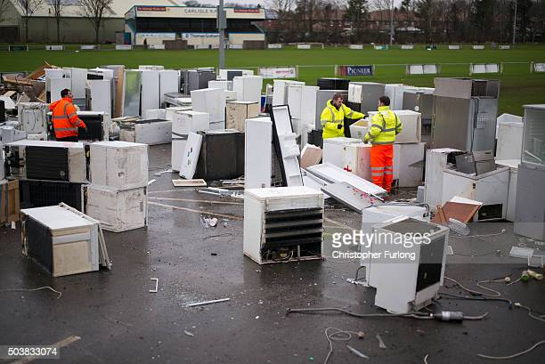 Flood damaged fridges and freezers are stockpiled for recycling at Carlisle Rugby Club one month on from the devasting floods created by Storm...