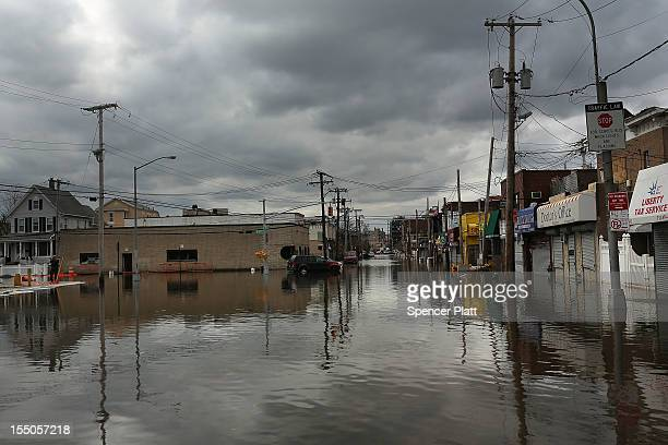 Flood damaged streets are viewed in the Rockaway section of Queens where the historic boardwalk was washed away due to Hurricane Sandy on October 31,...