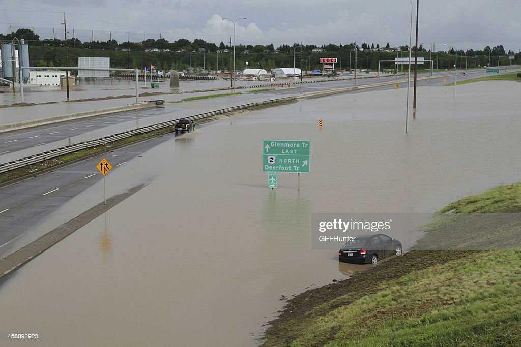 Flood In Calgary Swamps A Major Thoughfare Stock Photo