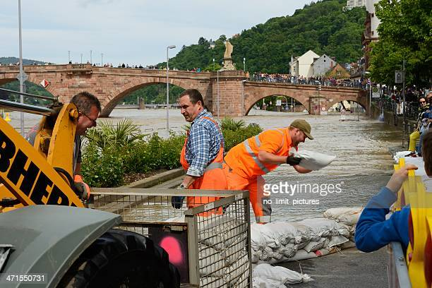 flood in heidelberg - sandbag stock pictures, royalty-free photos & images
