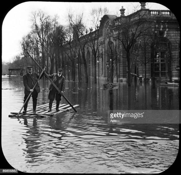 flood in Paris in 1910 after rise in water level of the Seine river