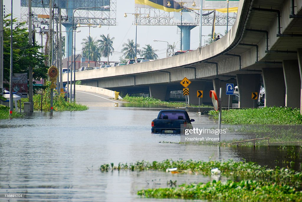 Flood in Thailand : Stock Photo