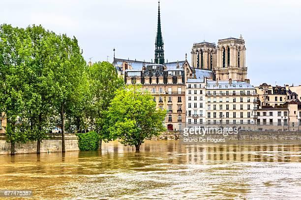 Flood of Seine River in Paris