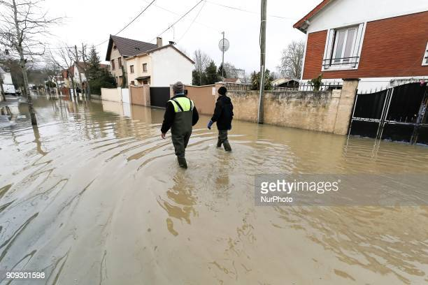 Flood of the river Yerres in the south of Paris january 23 2018 Montgeron Crosnes Yerres and Brunoy are among the towns affected by the flood of this...