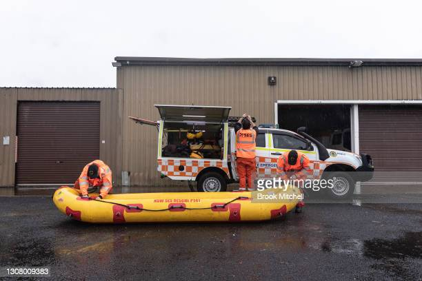 Flood rescue team prepares for a potentially busy afternoon at the Penrith branch of the SES on March 20, 2021 in Penrith, Australia. Heavy rain and...