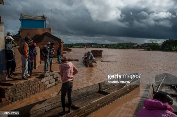 Flood takes place after the tropical cyclone Enawo in Antananarivo Madagascar on March 9 2017 Red Cross staff gave food aid to victims of the...