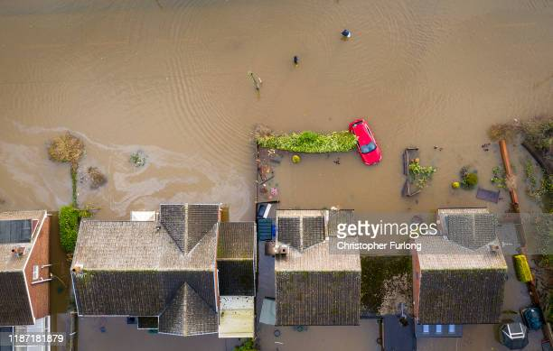 Flood water covers the roads and part of local houses in the Fishlake area on November 12, 2019 in Doncaster, England. More heavy rain is expected in...