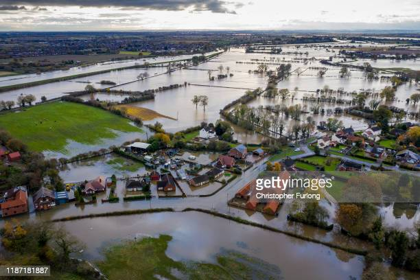 Flood water covers the roads and part of local houses in the Fishlake area on November 12 2019 in Doncaster England More heavy rain is expected in...