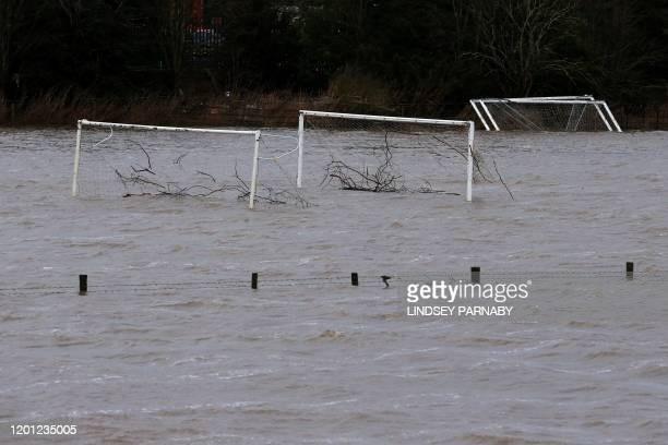 Flood water from the River Wharfe covers football pitches in Tadcaster northern England on February 16 after Storm Dennis caused flooding across...