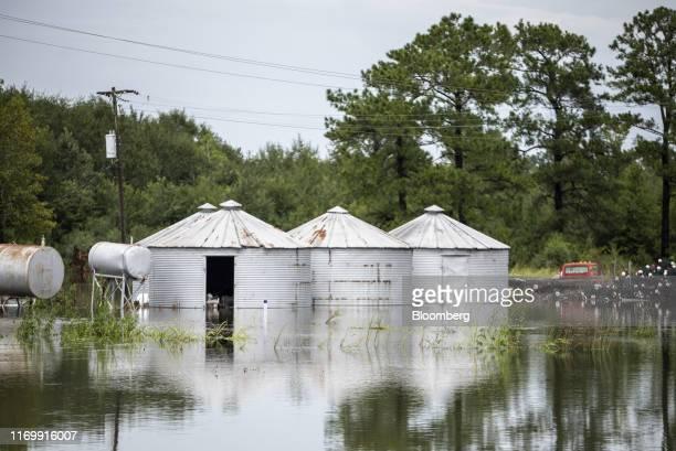 Flood water surrounds grain silos following Tropical Storm Imelda in Fannett Texas US on Friday Sept 20 2019 The remnants of Tropical Storm Imelda...