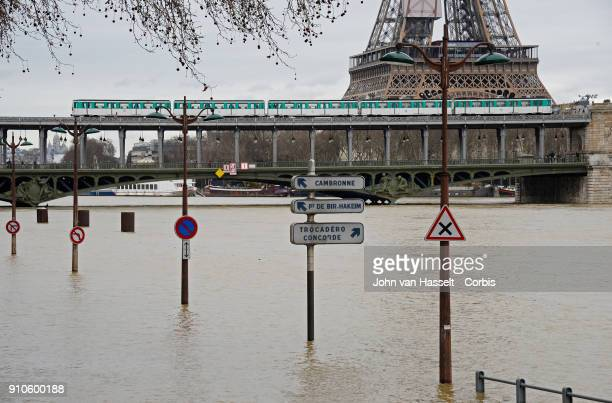 Flood waters are rising in Paris and could attain a record high by Sunday On January 25 2018 in Paris France the city is on alert as more rainfall is...