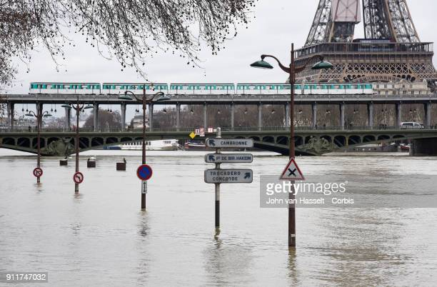 Flood waters are still rising on January 28 2018 in Paris France Flood waters are still rising and the city is still on alert as the swelling of the...