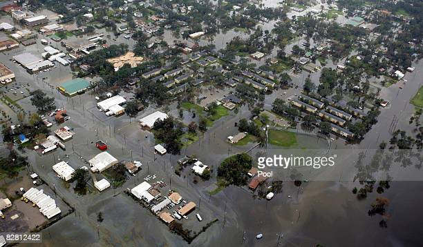 Flood waters engulf homes and streets after Hurricane Ike passed through September 14 2008 in Orange Texas Floodwaters from Hurricane Ike are...