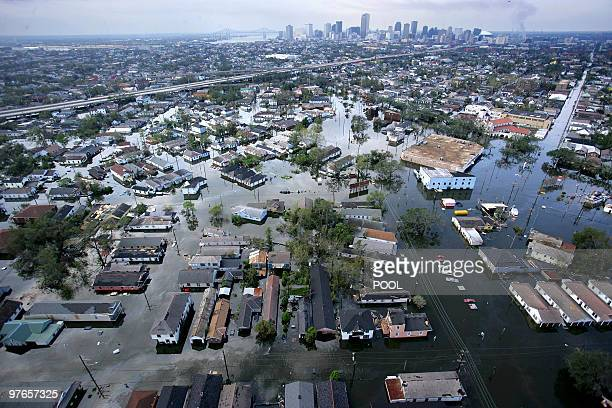 Flood waters from Hurricane Katrina cover streets in New Orleans, Louisiana, 30th August 2005. It is estimated that 80 percent of New Orleans is...