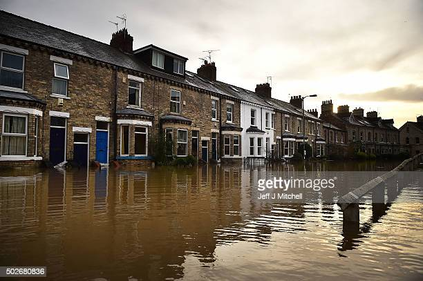 Flood waters inundate homes in the Huntington Road area of York after the River Foss burst its banks on December 28 2015 in York United Kingdom...