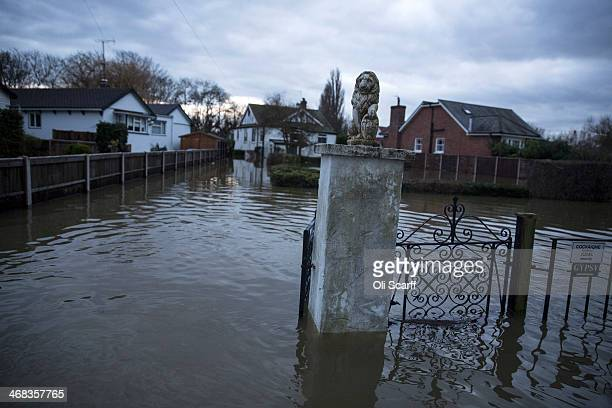 Floodaffected homes adjacent to the river Thames in Shepperton on February 10 2014 in London England The Environment Agency has issued severe flood...