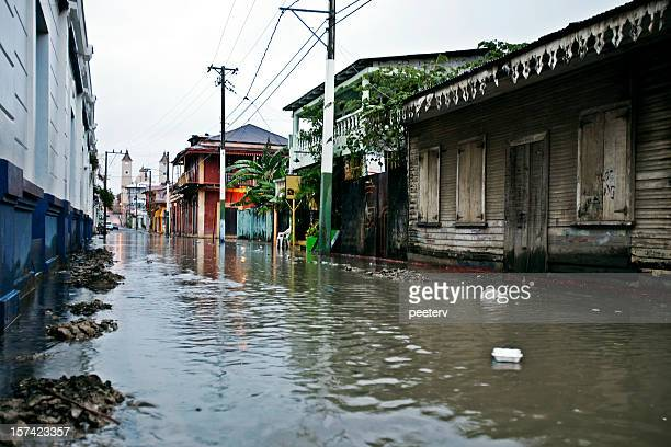 flooded alley - dominican republic stock photos and pictures