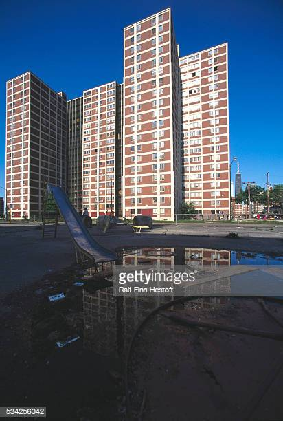 A flooded and empty playground lies below a cluster of buildings at the CabriniGreen housing project in Chicago The project was recently taken over...
