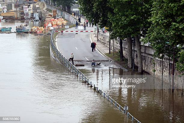 Flooded area is seen after heavy rain in Paris in France on June 05 2016 French Government activates red alert due to torrential rains